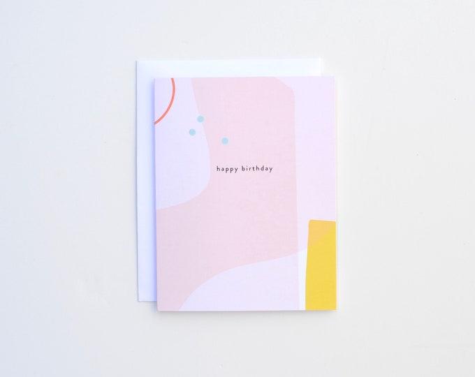 Birthday Card - Pink Yellow Beach