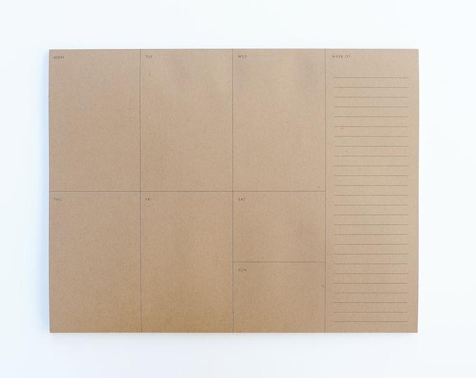 Weekly Planner Notepad - Kraft