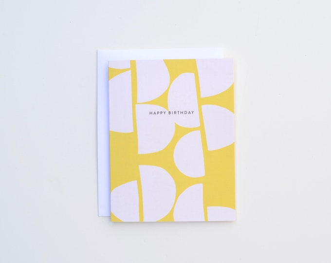 Birthday Card - Yellow Pink Semi