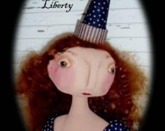 Primitive Folk Art Lady Liberty Doll - Americana Patriotic  EPattern