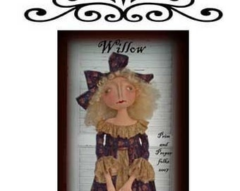 Primitive Folk Art Romantic Doll - Willow - Mailed Pattern
