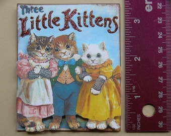 Vintage 3-D Art--Mother Goose Series 1--3 Little Kittens PD4U