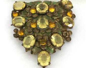 Yellow, Amber Glass Vintage Clip Pin