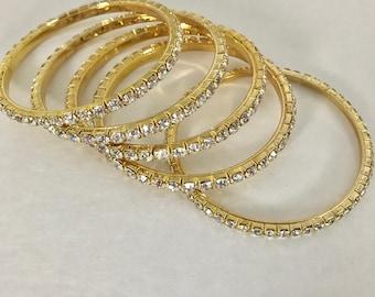 Faux Diamond Rhinestone Bolo Bracelets- set of 5