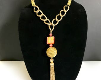 One of a Kind Tassel Necklace With Glass Square Bead