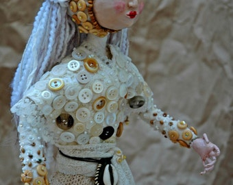 Commission an Art Doll - Sample - The White Maiden OOAK Polymer clay, wire and cloth