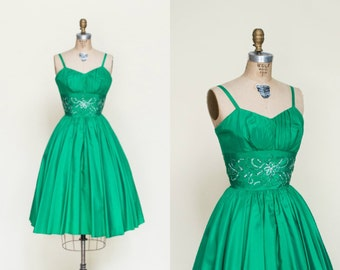 1950s Party Dress --- Vintage Green Holiday Dress