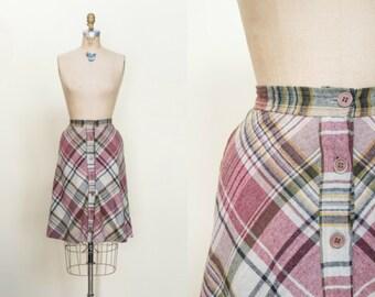 SALE /// 1970s Plaid Skirt --- Vintage Button Up Skirt