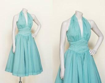 1950s Party Dress --- Vintage Halter Dress