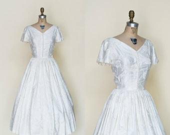 1950s Tea Length Wedding Dress --- Vintage Brocade Dress