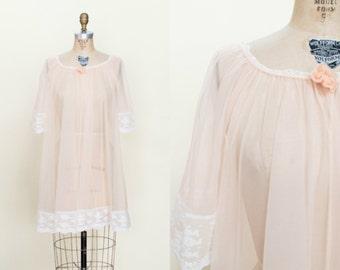 1960s Pale Pink Robe --- Vintage Sheer Nightie