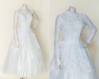 1950s Tea Length Wedding Dress --- Vintage Lace Strapless Dress