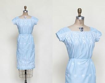 Vintage Blue Cotton Dress --- 1960s Embroidered Dress