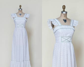 1970s Bohemian Wedding Dress --- Vintage Eyelet Maxi Dress