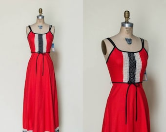 1970s Gay Gibson Dress --- Vintage Red Maxi Dress