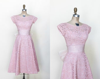1950s Party Dress Small --- Vintage Pink Lace Dress