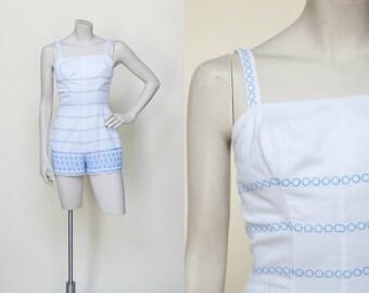 ecac024c0 Vintage Rose Maire Reid Playsuit --- 1950s Swimsuit
