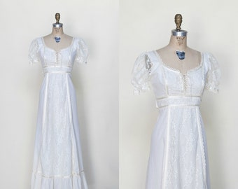 1970s Wedding Dress /// Vintage Gunne Sax Style Maxi Dress