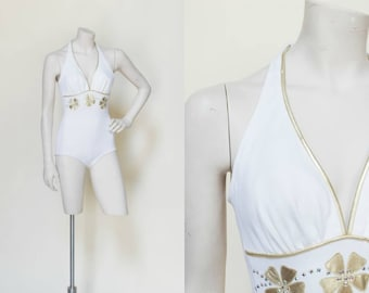 Vintage Pin-Up Swimsuit --- 1960s White One Piece De Weese