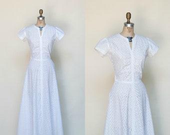 1940s Wedding Dress --- Vintage White Cotton Eyelet Dress