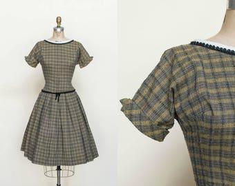 Vintage 1950s Plaid Dress Small Kay Juniors