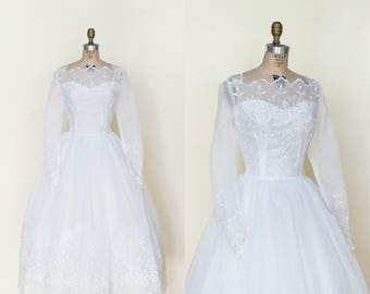 1950s Wedding Dress --- Vintage White Embroidered Long Sleeve Tea Length Gown