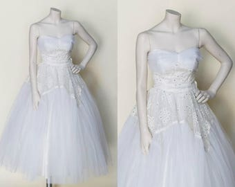 Vintage Tea Length Wedding Dress --- 1950s Wedding Dress Strapless
