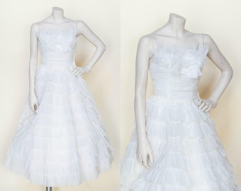 Vintage 1950s Strapless Wedding Dress Tea Length XS