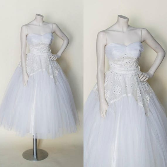 Vintage Tea Length Wedding Dress / 50s Bridal