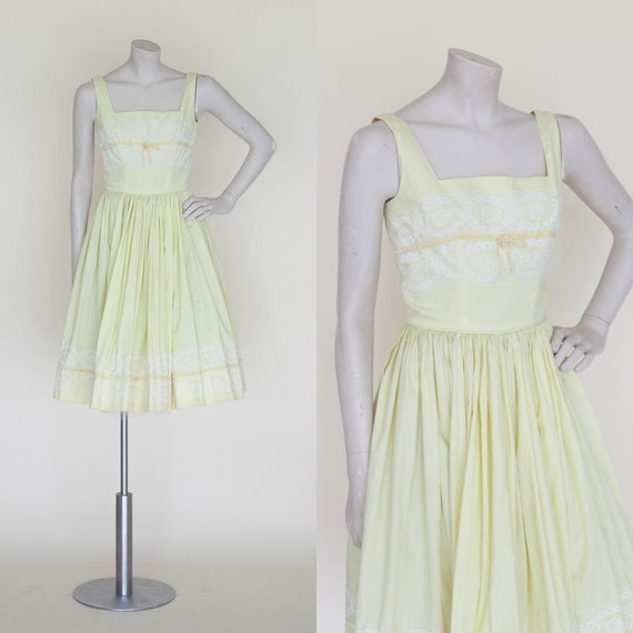 1960s Dress Vintage Yellow Party Dress XS