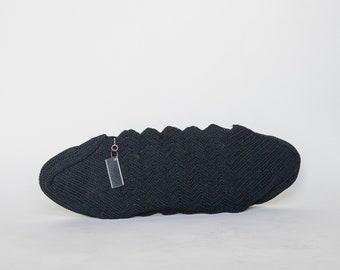 1940s Oversized Black Crochet Clutch