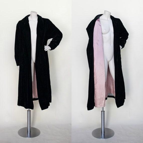 Vintage Opera Coat --- 1950s Black Velvet Jacket