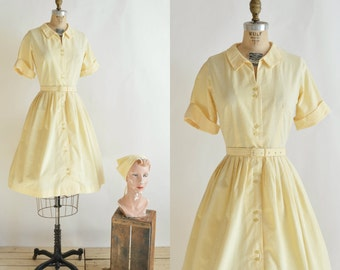 1960s Seersucker Day Dress --- Vintage Yellow Shirtwaist Dress