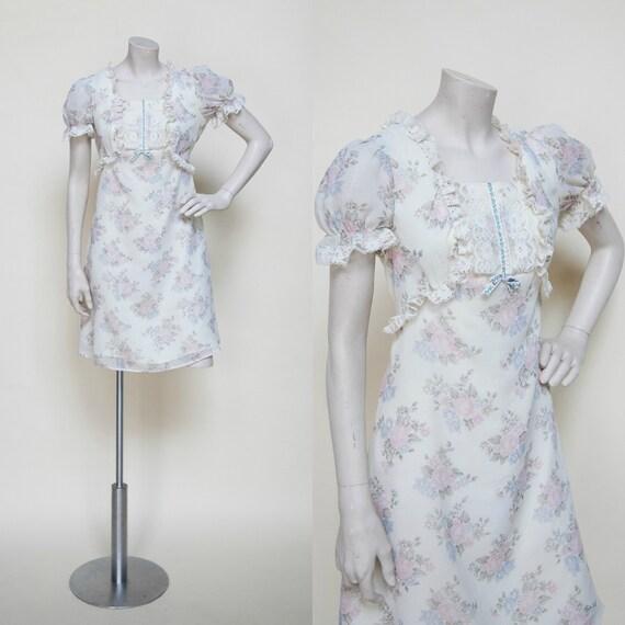 1970s Dress / Vintage Floral Boho Dress