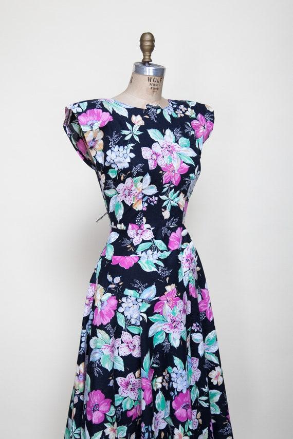 1980s Dress / Vintage Black Floral Dress - image 4