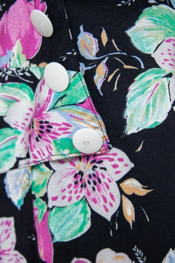1980s Dress / Vintage Black Floral Dress - image 7