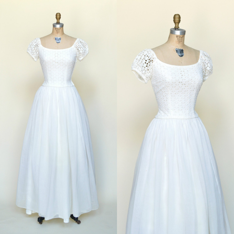 1950s Ceil Chapman Wedding Dress Vintage Floor Length Gown