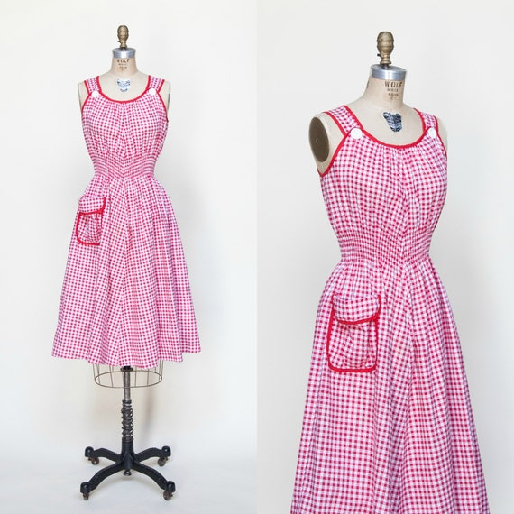 1940s Day Dress / Vintage Gingham Dress Small