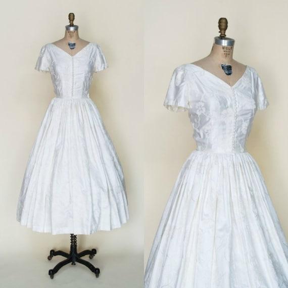 1950s Tea Length Wedding Dress --- Vintage Brocade