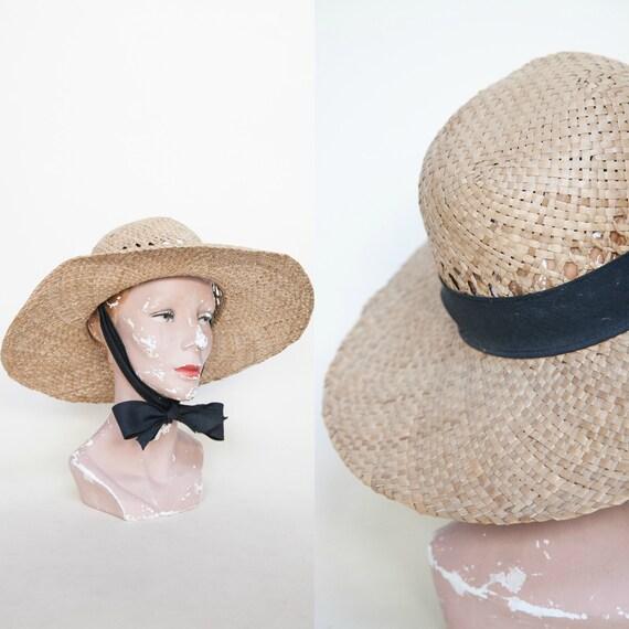 Vintage Straw Hat 1980s Ribbon Tie Sun Hat  78e6dfc59d3
