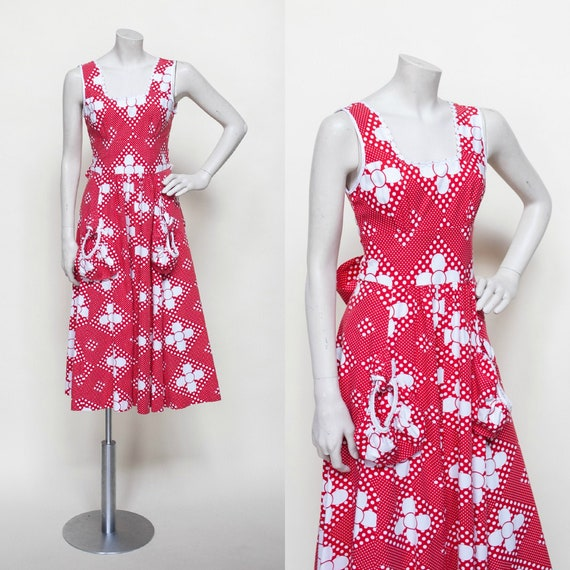 Vintage 70s Dress, 1970s Dress, Vintage Red and Wh