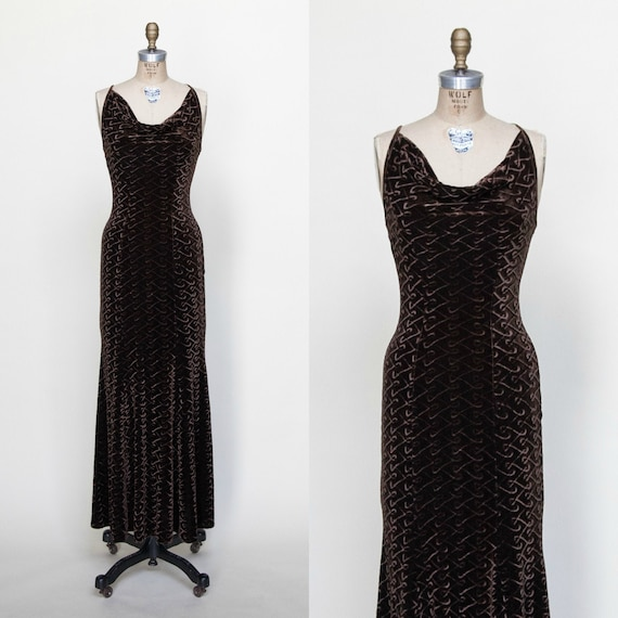 1990s Dress / Vintage Brown Maxi