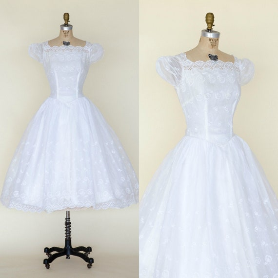 1950s Tea Length Wedding Dress / Vintage Bridal