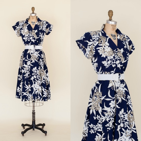 1980s Floral Dress 1950s Style Blue Day Dress