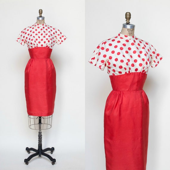 1960s Dress / Vintage Polka Dot Dress