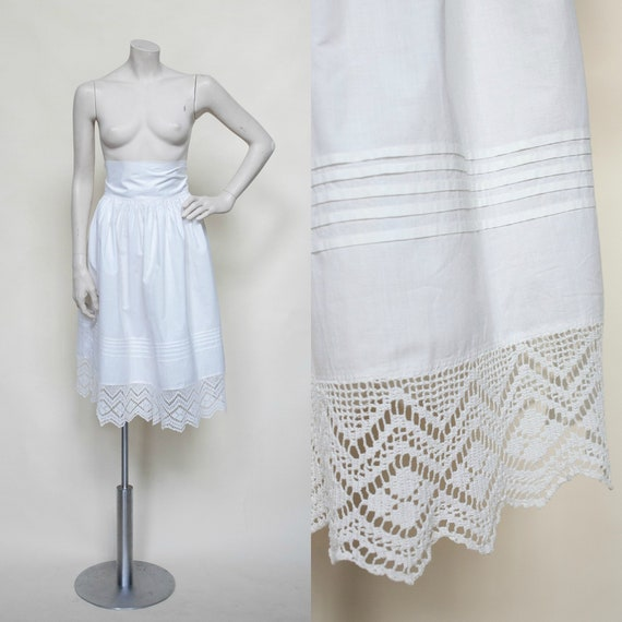 Edwardian Cotton Slip / Antique White Cotton Skirt