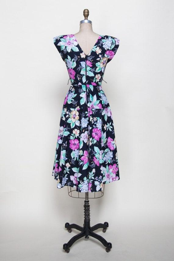 1980s Dress / Vintage Black Floral Dress - image 3