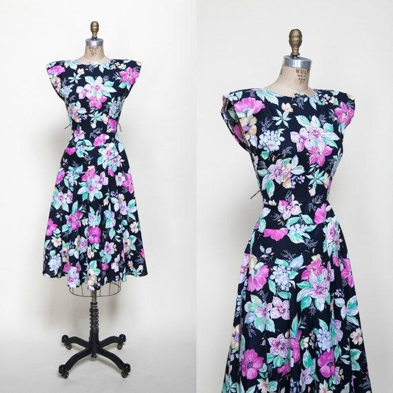 1980s Dress / Vintage Black Floral Dress