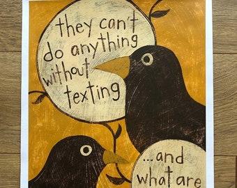 Texting - Original Acrylic Painting Overheard Series