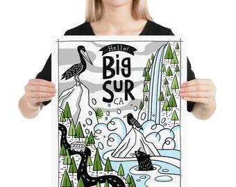 Original Art Illustration Big Sur CA Art Print